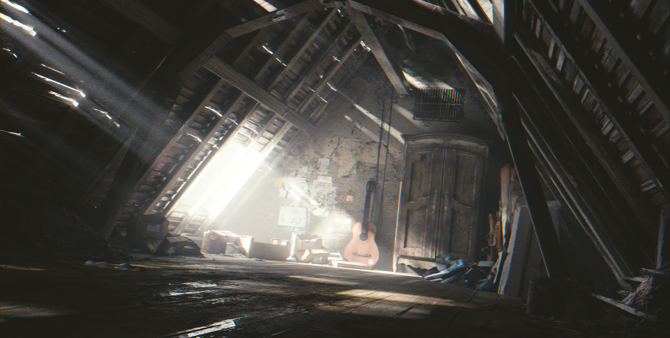 Attic scene from Blender Cloud.