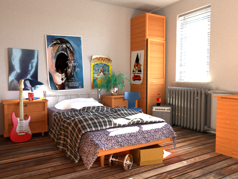 Bedroom rendered by Arnold.
