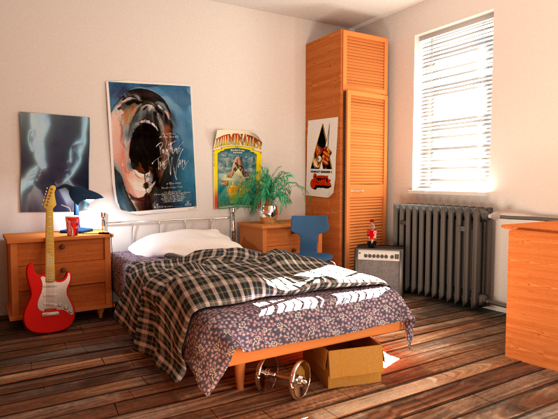 Bedroom rendered by Cycles.