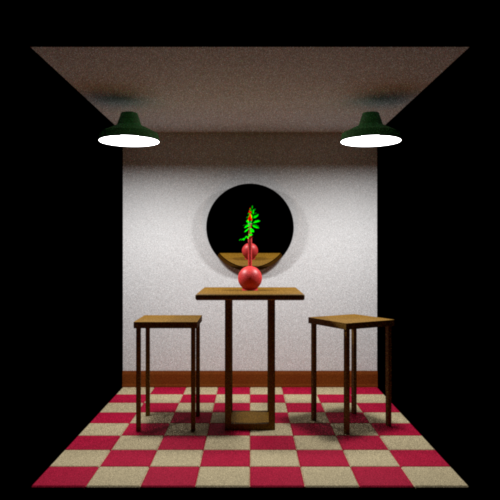 Cafe scene rendered via Rust using pathtracing