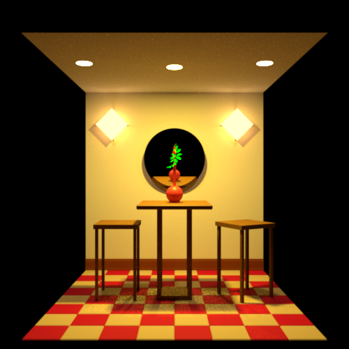 Variation of the cafe scene rendered via Rust using pathtracing