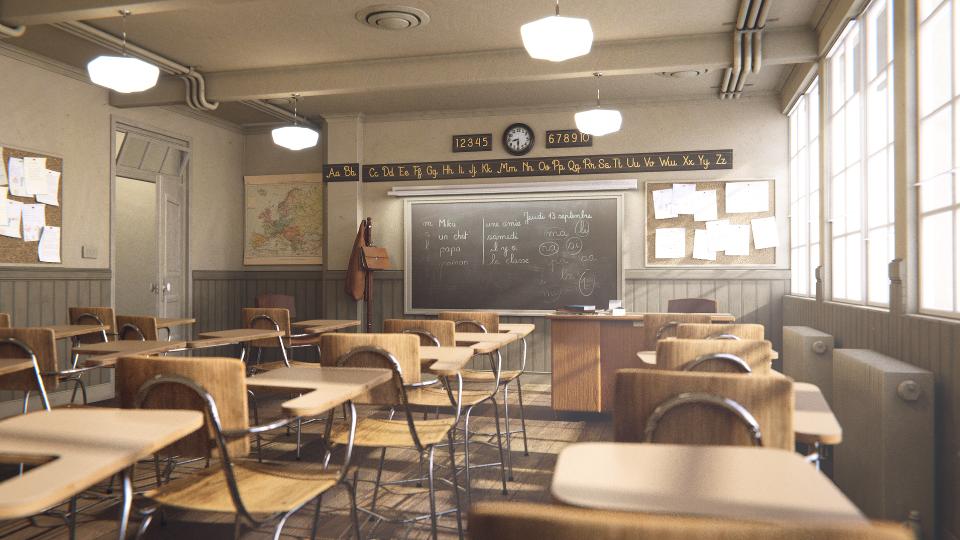 Classroom rendered by Cycles.