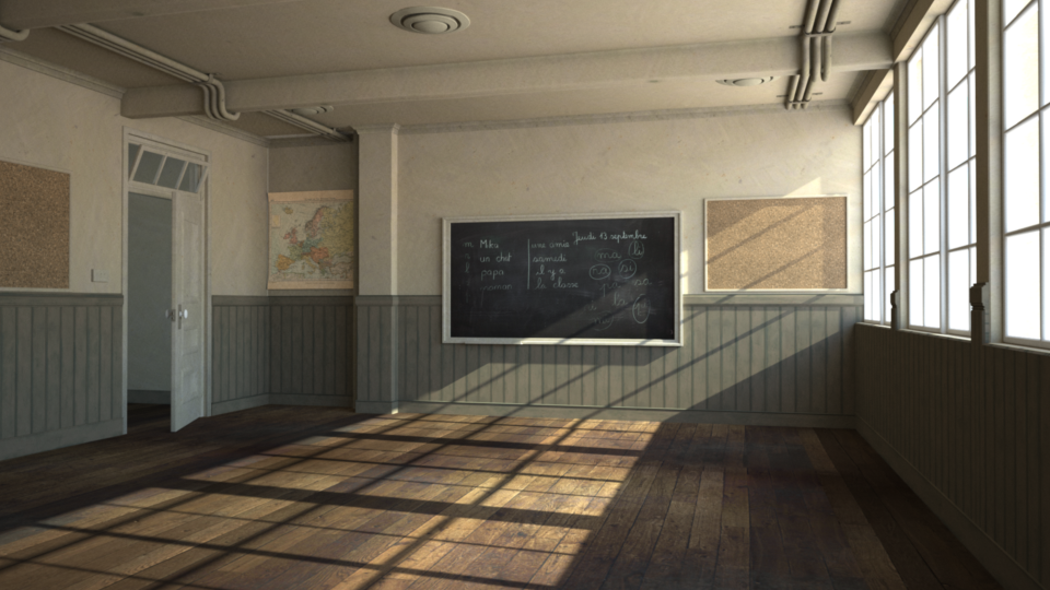 Current state of the classroom scene rendered by Indigo.