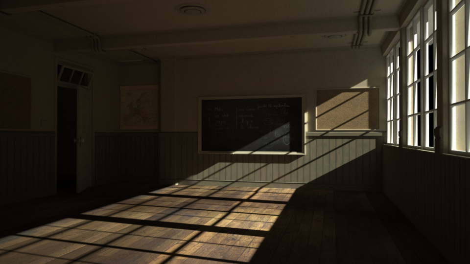 Only the sun contribution for the classroom scene rendered by Indigo.