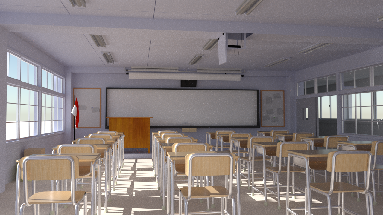 Classroom room rendered byrs_pbrt