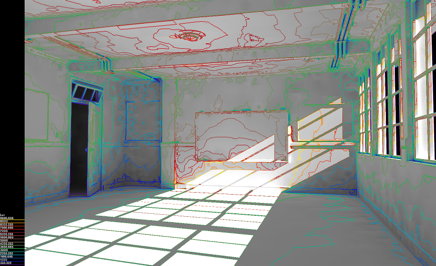 Unfinished classroom scene rendered by Radiance using falsecolor.