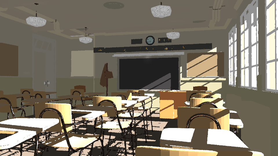 Classroom scene rendered by Radiance.