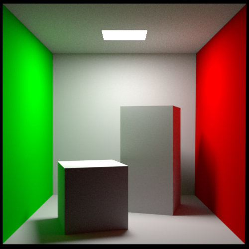 Cornell Box scene rendered via Rust version of PBRT using path tracing (low settings)
