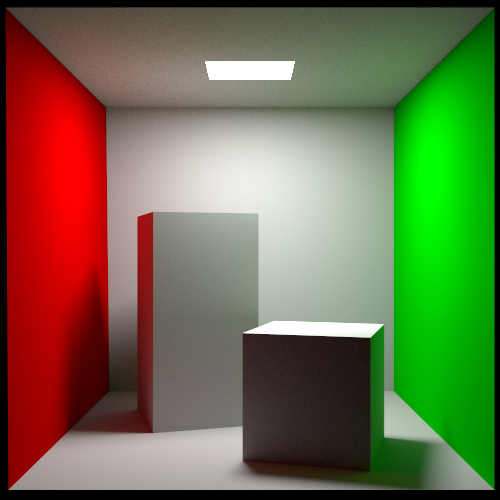 Cornell Box scene rendered via Rust version of PBRT using pathtracing (lowsettings)