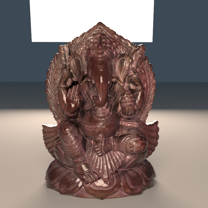 Very detailed scan of a small statue with over 4.3 million triangles, illuminated by a few area light sources.