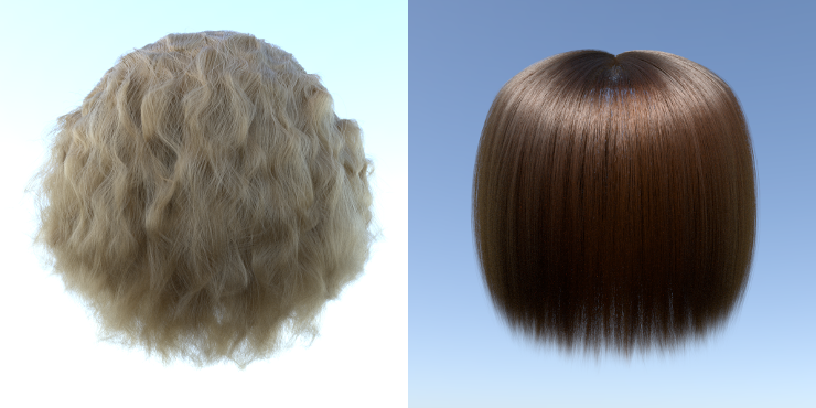 Curly and straight hair rendered by Rust version of PBRT