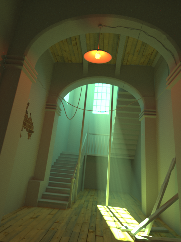 Using Luxrender's 'VolumeIntegrator' for god rays.