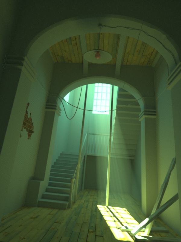 Using Luxrender's light groups to separate green light from the daylight system.