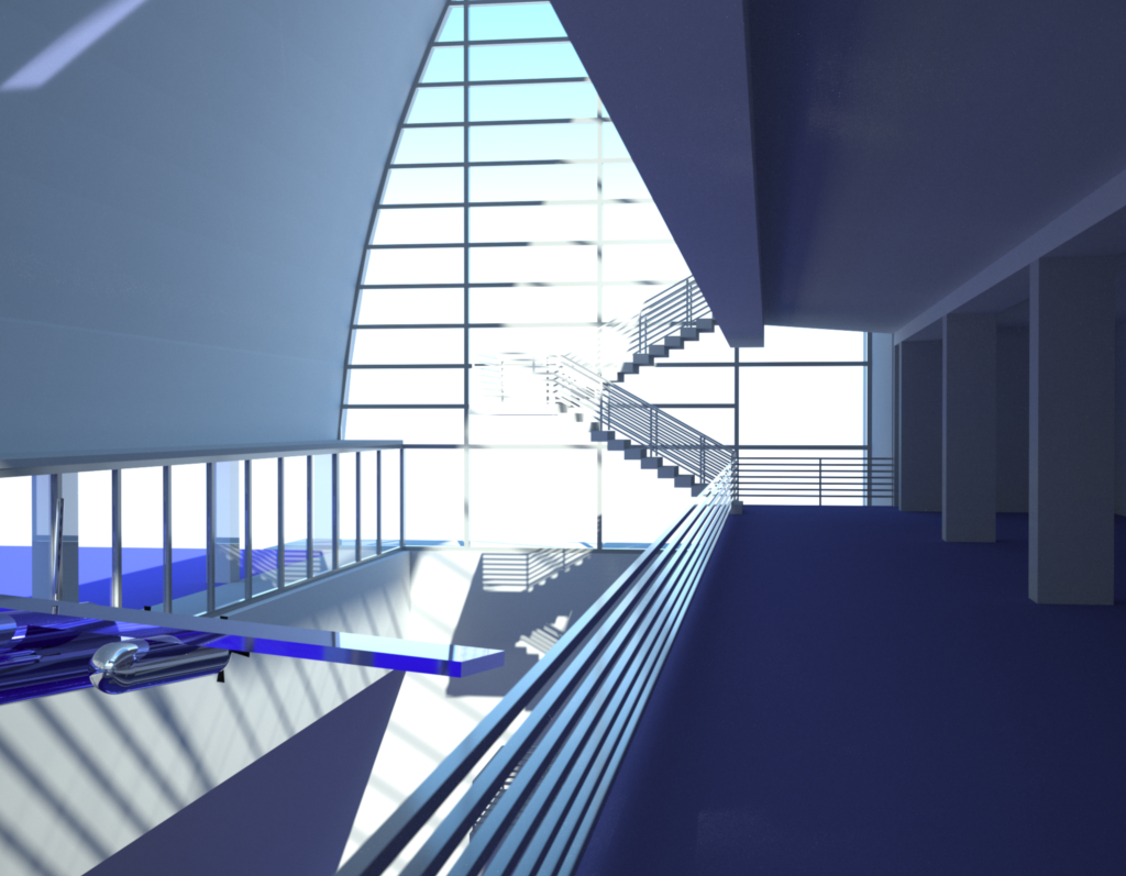 Indigo rendering from the 3rd floor looking east.
