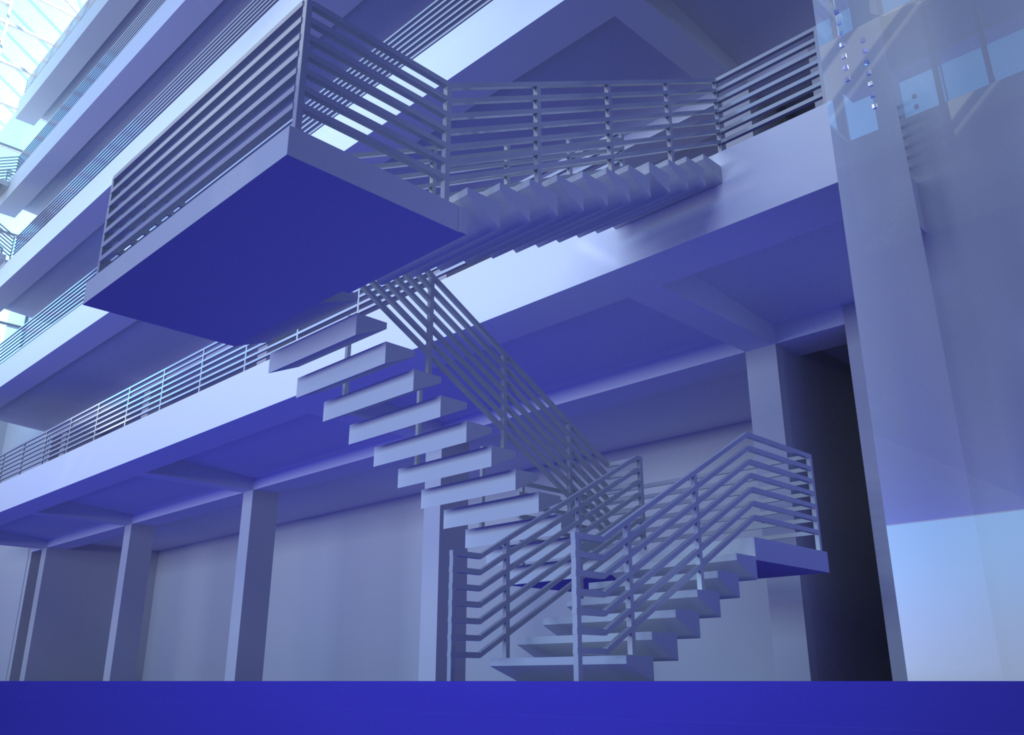 Indigo rendering of the staircase.