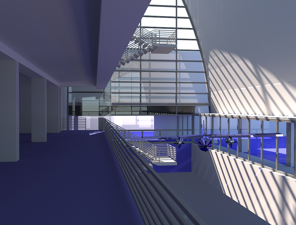 Luxrender rendering from the 3rd floor looking west.