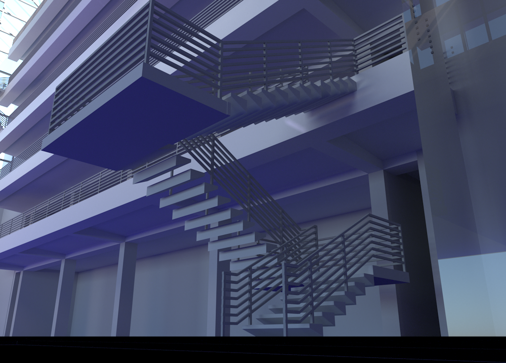 Luxrender rendering of the staircase.