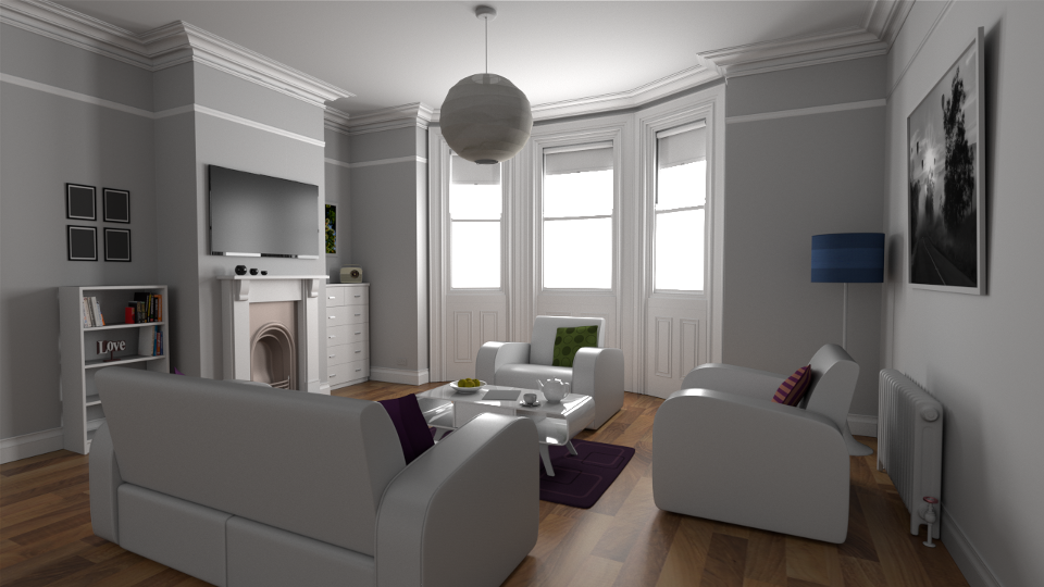 Living Room rendered via bi-directional path tracing.