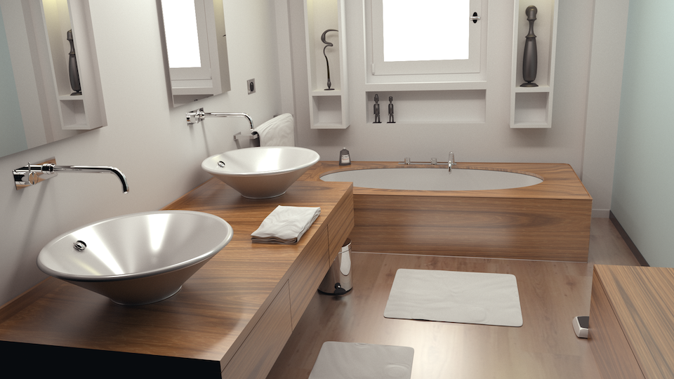 Cycles rendering of a modern bathroom (from Blend Swap).