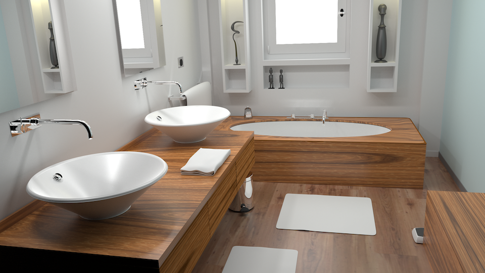 Luxrender rendering of a modern bathroom (from Blend Swap).