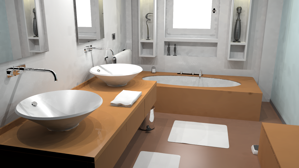 Radiance rendering of a modern bathroom (from Blend Swap).