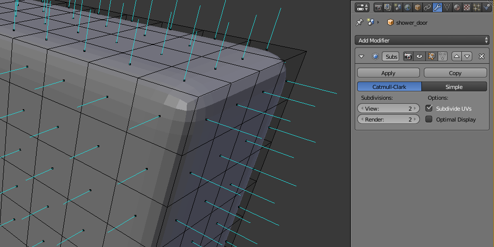 Screenshot from Blender to visualize the subdivision polygons