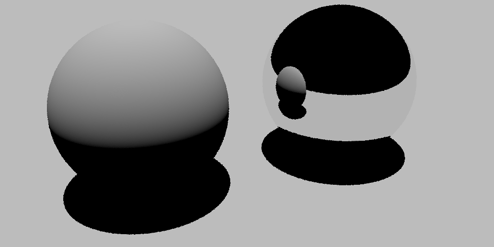 Scene with a mirror material on the second sphere, rendered for matte materials via the Rust version of PBRT.