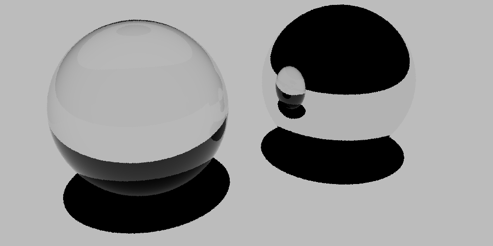 Scene with a glass material on the first sphere and a mirror material on the second sphere, rendered for matte materials via the Rust version of PBRT.