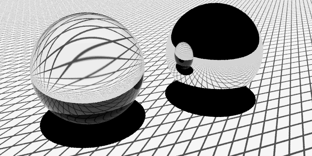 A glass and a mirror sphere on a textured ground plane.