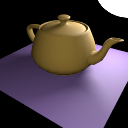 Teapot scene rendered with direct·lighting